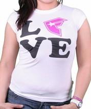 Célébres Stras & Bretelles Blanc Femmes Fsas Amour Ras T-Shirt - $14.19