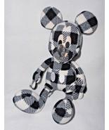 Disney Uniqlo Mickey Mouse Black White Plaid Fleece Plush Stuffed Animal - $34.63