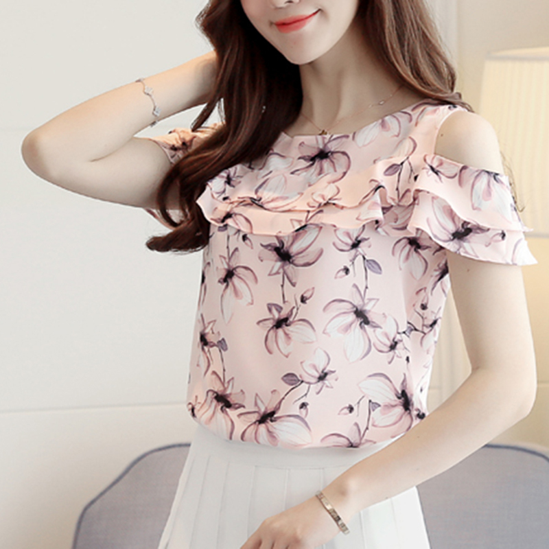 2017 Women Off Shoulder Short Sleeve Blouses Print Floral Chiffon Shirts Casual  image 2