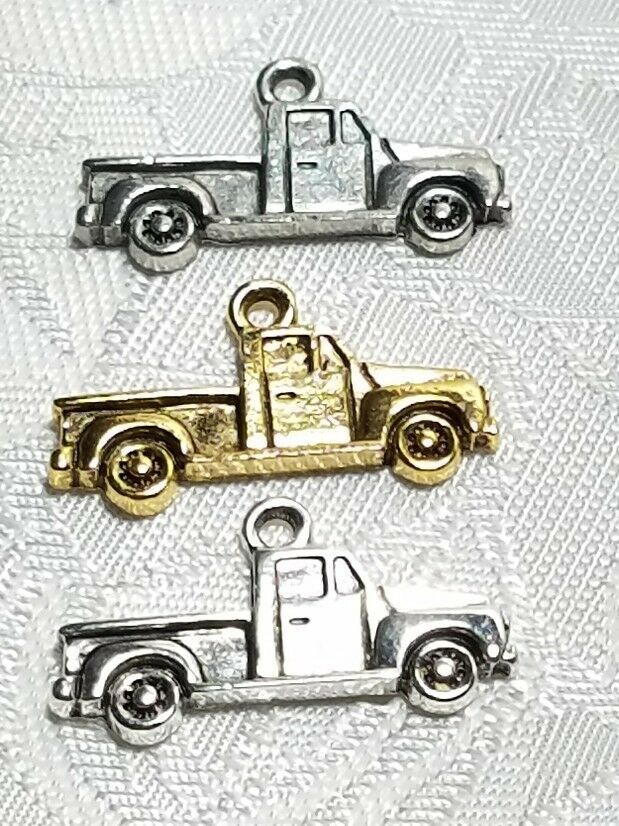 PICKUP TRUCK 2D FINE PEWTER PENDANT CHARM MADE IN THE UNITED STATES