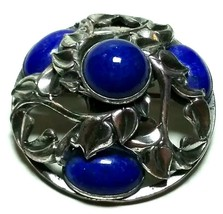 VINTAGE NAPIER SIGNED LAPIS BLUE COLOR SILVER TONE LEAVES ANTIQUE BROOCH... - $125.00