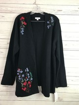 Charter Club Open Heavy Cardigan Sweater Embroidered Black Sz XL NWT $99.50 - $23.17 CAD