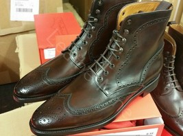Men's Handmade Ankle High Lace up Dress Boots Custom Wingtip Boots For Men - $159.99 - $179.99