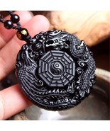 Black Obsidian Hand Carved Dragon Phoenix Lucky Amulet Pendant Fashion N... - $11.99