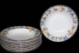 8 Mikasa GARDEN HARVEST Fruit 9-1/4 Wide Rim Soup Bowls EXC / NEW Beautiful - $66.99