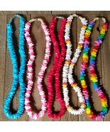 Puka Shell Necklace 18 inch Rainbow Fushia Turquoise White - $8.00