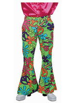 70's Flared Trousers , Green Peace Paisley Fabric  - $31.31
