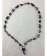 """Purple and Yellow Glass and Resin Beaded Handmade Necklace 11"""" - $14.01"""