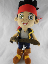Disney Jake and the Neverland Pirates 14 inch Plush Doll w sword Smiling... - $10.88