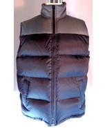 Mens Athletech Nylon Down Puffer Vest Size Large Black Gray Zip Up - $35.56