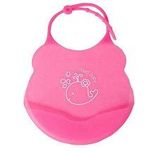 2 Pcs Mother Essential Pink Dolphin Silica Waterproof Pocket Baby Bibs