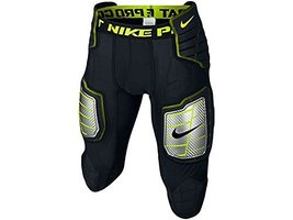 Nike Men's Hyperstrong Compression Hard Plate Football Pant Black/Volt Size Medi