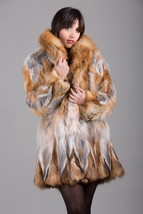 Red Fox Fur Coat Fox Collar Knee Length Women's  Brand New ALL SIZES SAG... - $643.50