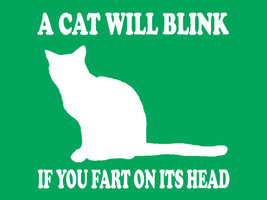 Funny Tshirt A Cat Will Blink If You Fart On Its Head T-Shirt Funny Cat Tee - $11.99