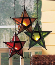 Hanging Star Tea Light Candle Holder Set of 3 Unique Etched Stained Glas... - $25.53