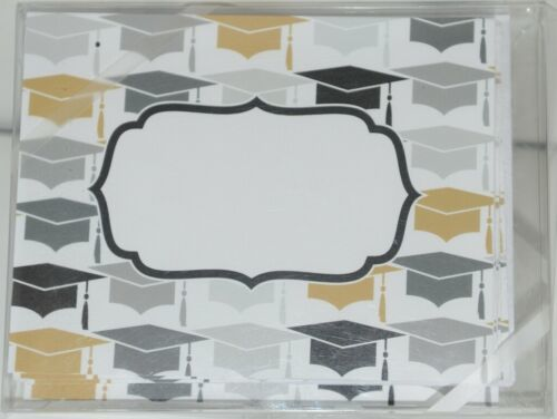 Rosanne Beck 211 1355 Folded Note Grad Hats Gold Cards and Envelopes Package 10