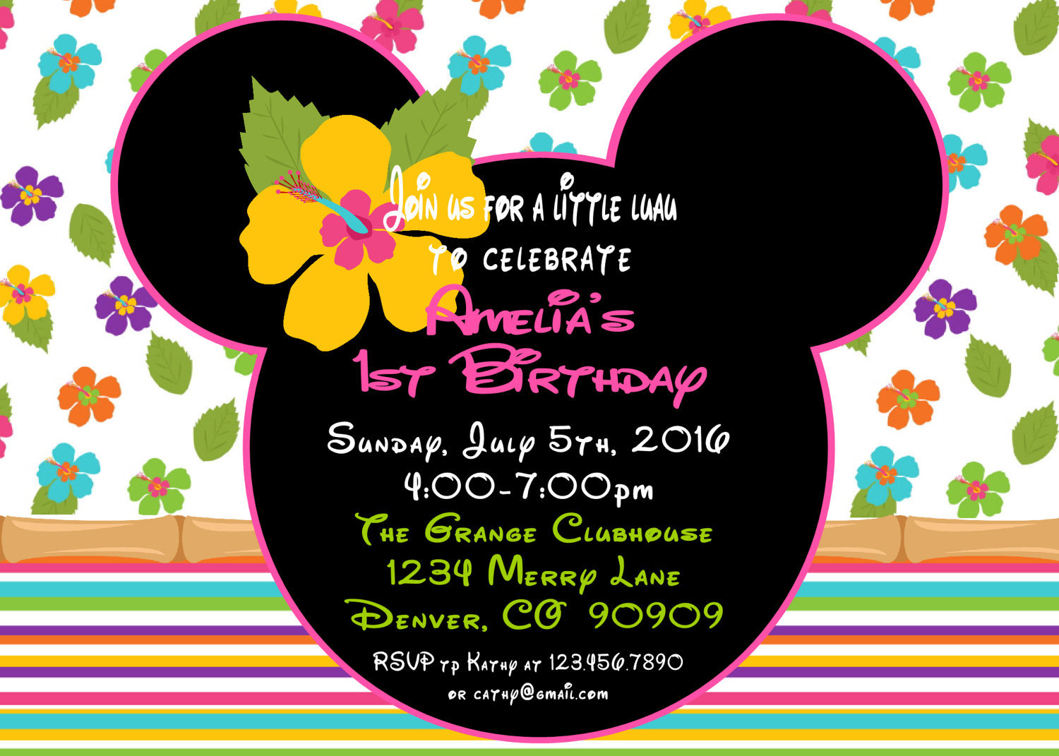 Minnie Mouse Luau 1st Birthday Party Package And 26 Similar Items