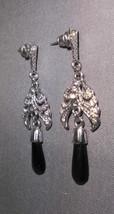 VTG Silver Tone CZ Rhinestone Black Plastic Dangle Earrings - $11.88