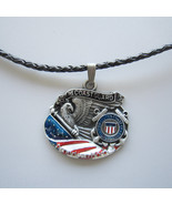 American Hero Coast Guard Metal Charm Pendant Leather Necklace - $7.55