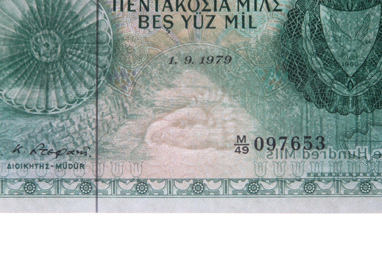 1979 Cyprus 500 Mil Graduado GU-65 Sn PMG Central Banco Gema que No Ha Circulado