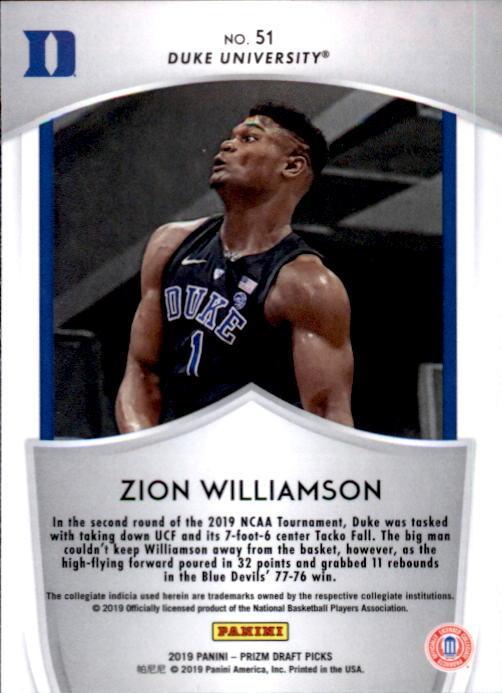 Zion Williamson 2019-20 Panini Prizm Draft Picks Crusade Rookie Card #51 image 2