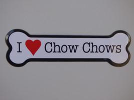 "I Heart (Love) Chow Chows Dog Bone Car Magnet 2""x7"" USA made NEW Waterproof - $4.99"