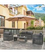 4PC Patio Outdoor Wicker Rattan Furniture Conversation Sofa Garden Table... - $559.97