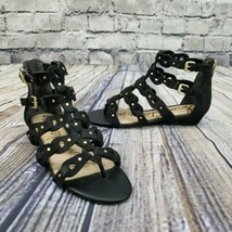 Sam Edelman Size 9 Black Leather Draper Cage Gladiator Sandal Studded St... - $60.78