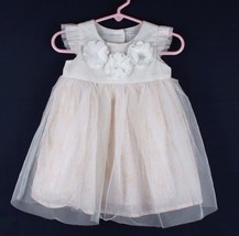 Disney baby toddlers girls party dress polyester white flowers size 9-12... - $8.50