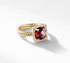 David Yurman Chatelaine Pave Bezel Ring With Garnet, 9mm - $1,880.00