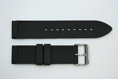 24mm Liso Pesado Italiano Caucho Negro Correa para Reloj de Pulsera para Luminox