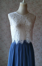 Two Piece Bridesmaid Dress Dusty Blue Tulle Maxi Skirt Crop Lace Top image 6