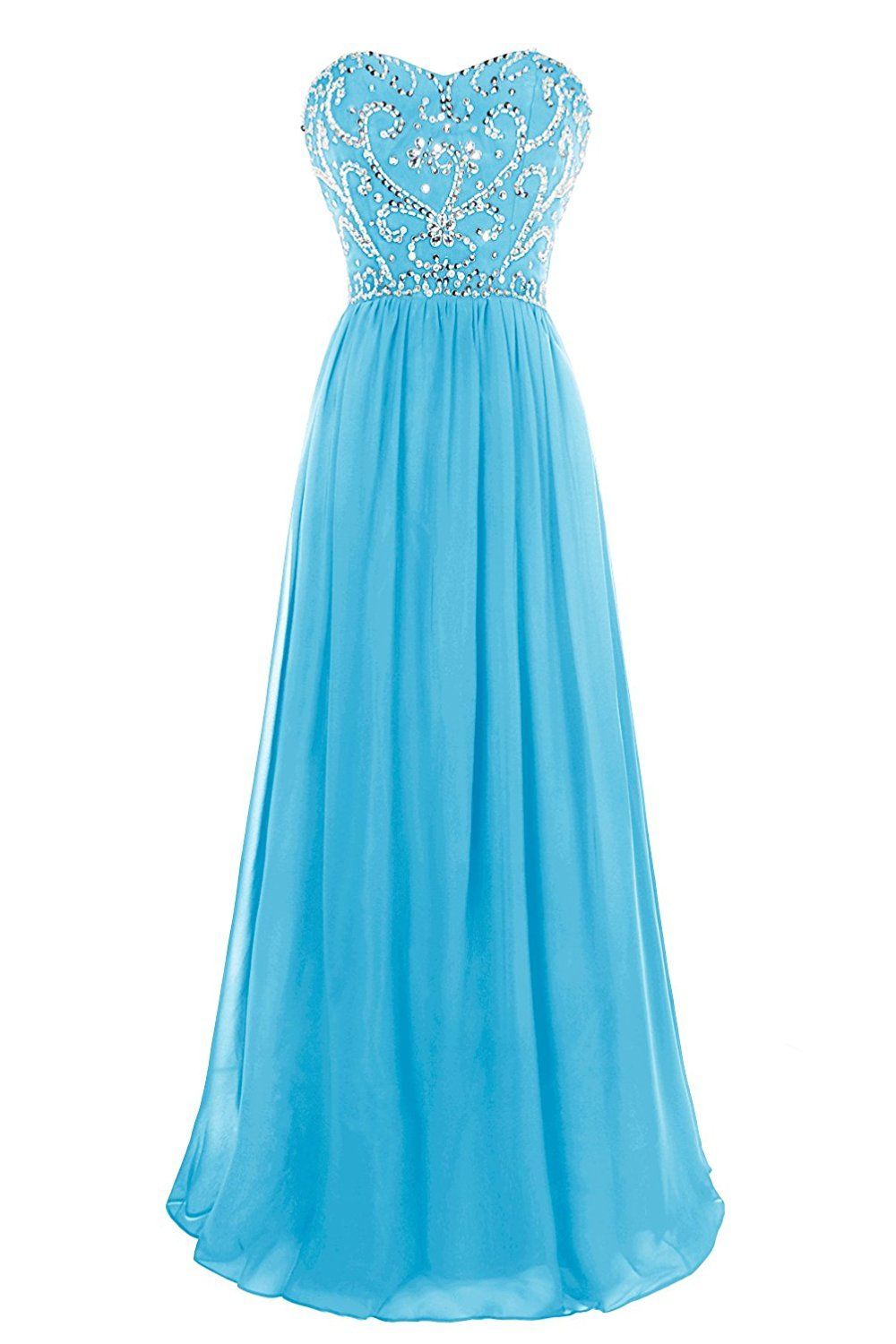 A-Line Sweetheart Prom Dresses Beaded Chiffon Floor Length Formal Evening Dress