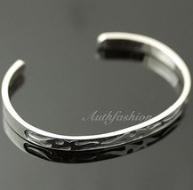 Mens Sterling Silver Bracelet Simple Bangle Cuff Graved Pattern Hiphop B... - $67.95