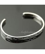 Mens Sterling Silver Bracelet Simple Bangle Cuff Graved Pattern Hiphop B... - $67.95