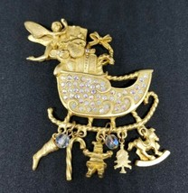 Kirks Folly Pin Brooch Gold Christmas Santa Sleigh AB Rhinestone Crystal... - $74.24