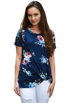 Dark Blue Floral Short Sleeve Knot Top  - $17.25