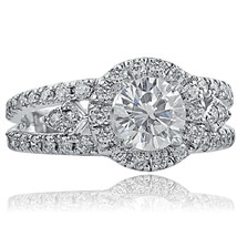 2.00 TCW Round Cut Diamond Split Shank Halo Vintage Design Engagement Ri... - €4.923,45 EUR