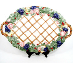 Fitz & Floyd Christmas Holly Grapes Rose Handled Lattice Oval Serving Pl... - $74.64
