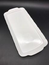 Rectangle White Platter Tray Embossed Basket Weave Pattern Czech Republi... - £14.87 GBP