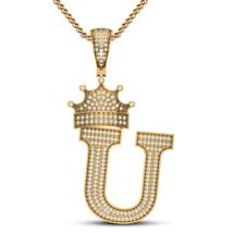 "Initial Letter ""U"" Crown Pendant 14k Yellow GP 925 Silver Round Cut Sim Diamond - $138.99"