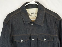 Gap 1969 Dark Wash Rigid Ring Spun Denim Trucker Jacket Men's size L - $55.79