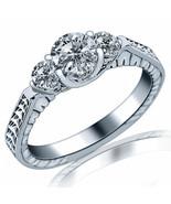 3-Stone Engagement Ring 1.24 Ct Round Cut Diamond 14k White Gold Vintage... - $3,136.87