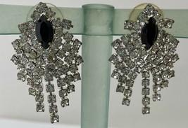 Vintage Rhinestone and Black Marquis Dangle Pierced Earrings - $23.75