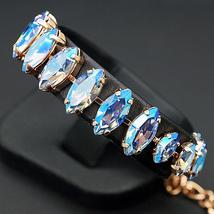 "Bracelet ""Ornella (Light Sapphire Shimmer)"" with crystals from Swarovski™ - $112.82"