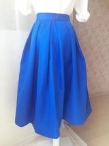 Royal Blue A Line Full Midi Length Taffeta Tea Length Skirt with lining pockets image 3