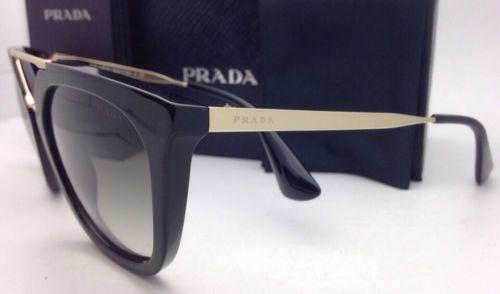 Nuovo Prada Occhiali da Sole Spr 13Q 1AB-0A7 54-20 Nero - Oro W/ Grigio Fumè
