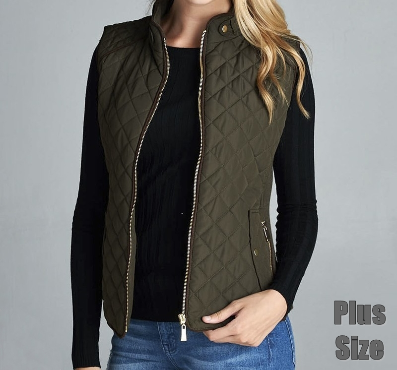 Olive Puffer Vest Plus Size, Quilted Vest with Suede Piping, Olive, Womens Plus