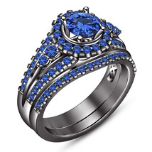 Bridal Engagement Ring Set In Blue Sapphire Black Gold Plated Pure 925 S... - $111.99