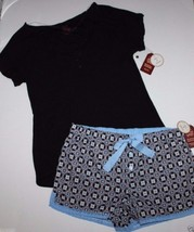 Faded Glory NWT Women Pajama Lounge Set Black Henley Top + Cotton Shorts - $28.71